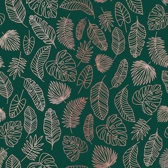 熱帯の葉バラゴールドラインのシームレスパターン