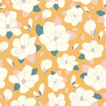 マグノリアの花のシームレスパターン