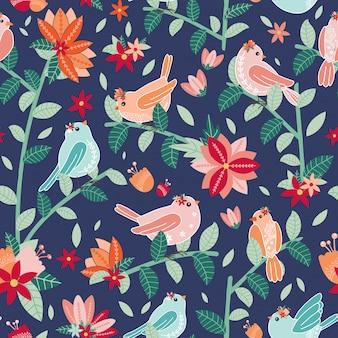 鳥と花のシームレスパターン