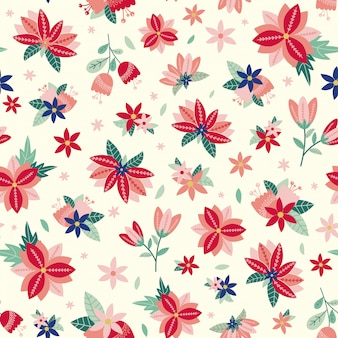 花と葉を持つシームレス花柄