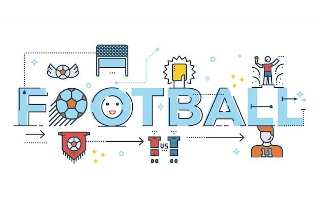 フットボールの単語のレタータイポグラフィデザインのイラスト