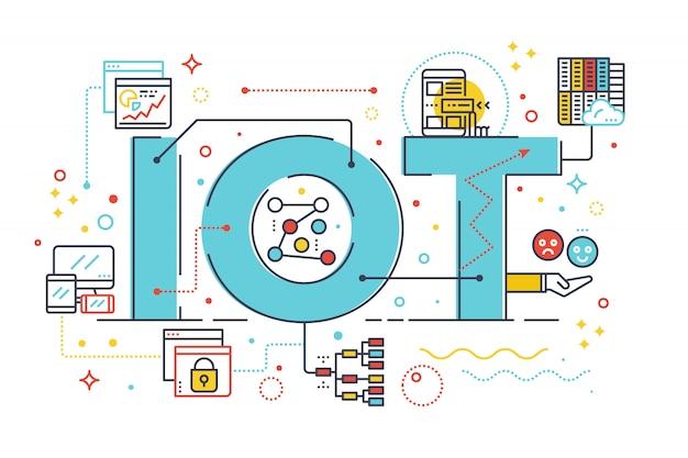 物事のインターネット、インターネットのコンピュータ技術の概念の単語レタリングのデザインのイラスト