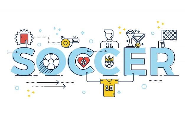バナーのサッカー語レタリングタイポグラフィデザイン図