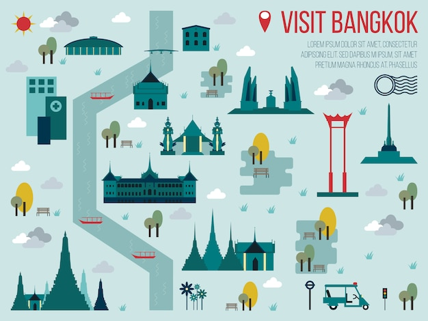 訪問バンコクの地図イラスト