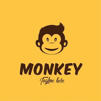 理髪店のアイデンティティのためのシンプルな猿のロゴ