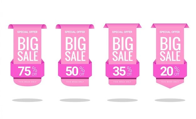 ピンクのグラデーションで特別オファー割引価格ラベルコレクション