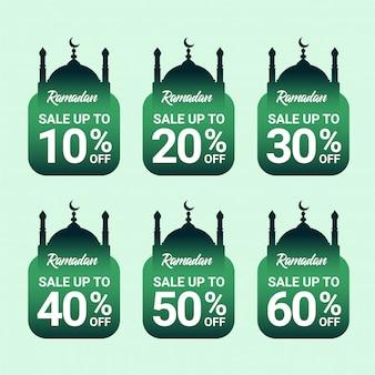 Набор рамадан скидка тег премиум вектор с зеленым градиентом