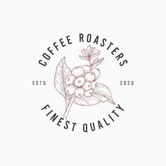 エレガントな手描きのコーヒーのロゴプレミアムデザインテンプレート
