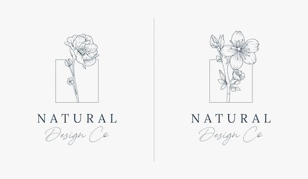 Элегантный рисованной цветочный логотип премиум дизайн шаблона