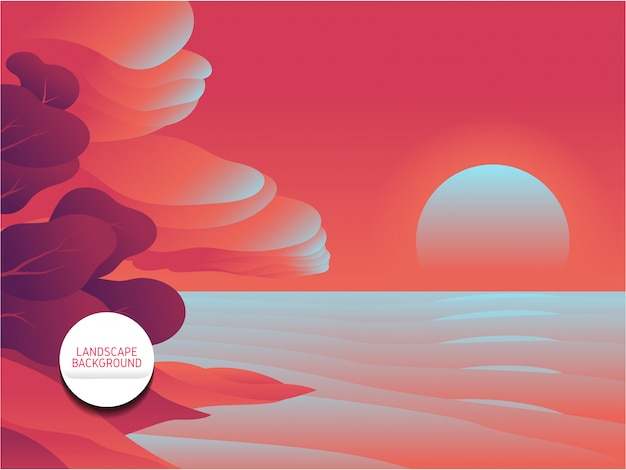 Розовый пейзажный фон