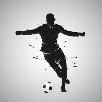 サッカーサッカーボールポーズ暗いシルエット