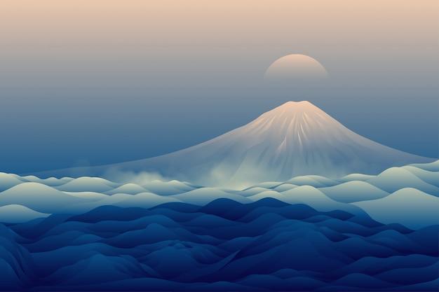 青い山の風景の背景