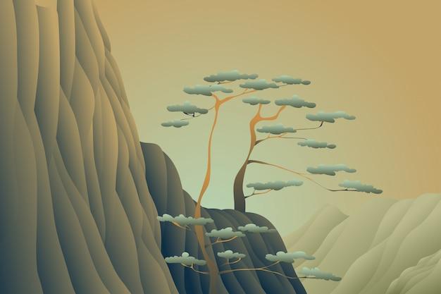 木の崖の夕日の風景の背景