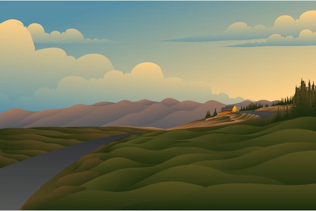 日没のフィールドの背景の風景