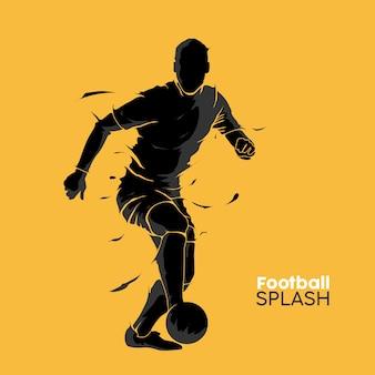 フットボールサッカーのスプラッシュシルエット