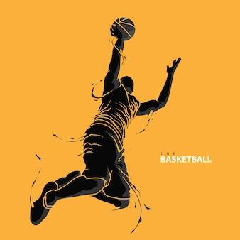 バスケットボール選手のスプラッシュシルエット