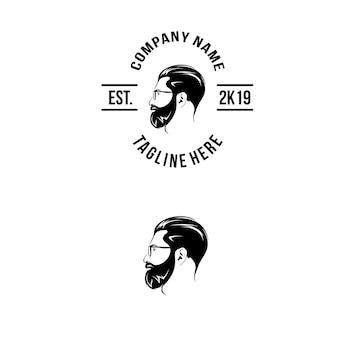 側面からのひげのロゴ