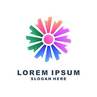 Красочный круг, цветок, логотип премиум