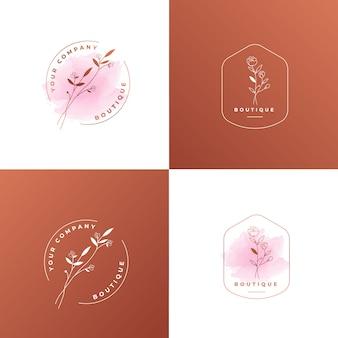 フェミニンなフラワーローズゴールドのロゴのテンプレート