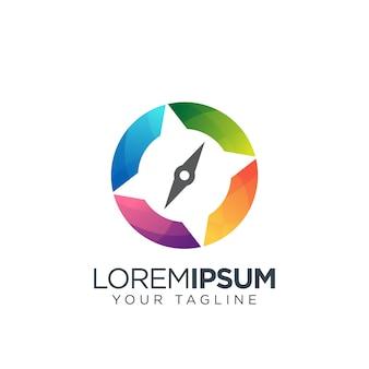 Компас логотип красочный