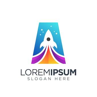 Буква ракета логотип