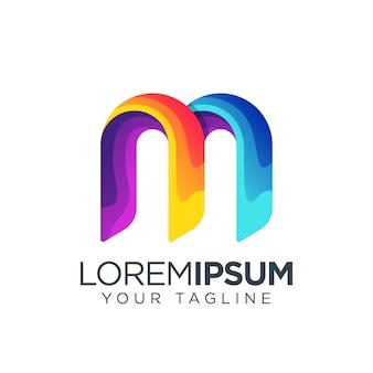 Буква м логотип красочный