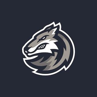 狼のマスコットのロゴのテンプレート