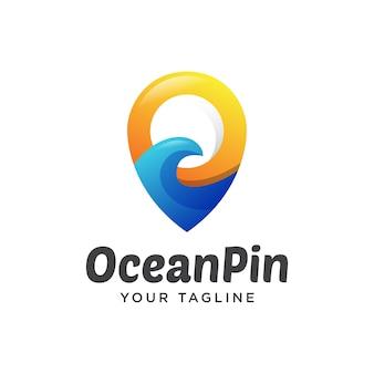 Океан булавка путешествия логотип градиент