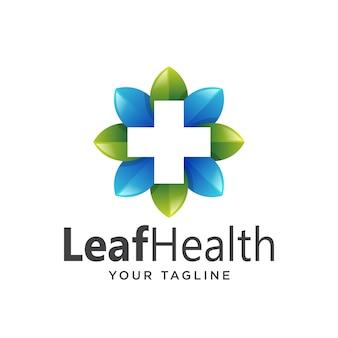 Здоровье листьев логотипа простой чистый градиент.