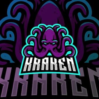 Крэкен талисман логотип киберспорт игры иллюстрация