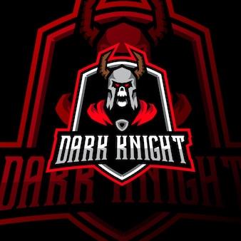 Темный рыцарь талисман логотип киберспорт игры иллюстрация
