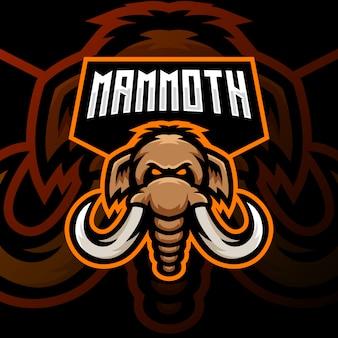 Мамонт талисман логотип киберспорт игры иллюстрация