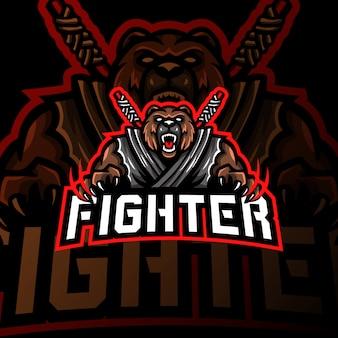 Медведь истребитель талисман логотип киберспорт игры иллюстрация