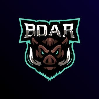 Кабан талисман логотип киберспорт игры.