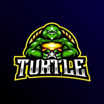 Черепаха талисман логотип игровой киберспорт иллюстрации