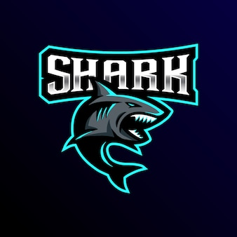 Акула талисман логотип киберспорт игры иллюстрация