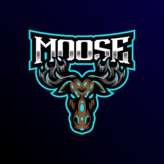 Лось талисман логотип киберспорт игровая иллюзия