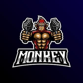 Обезьяна талисман логотип киберспорт игры.