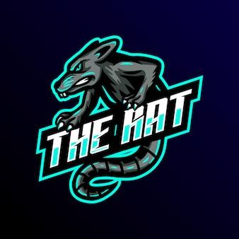 Крыса талисман логотип киберспорт игры иллюстрация