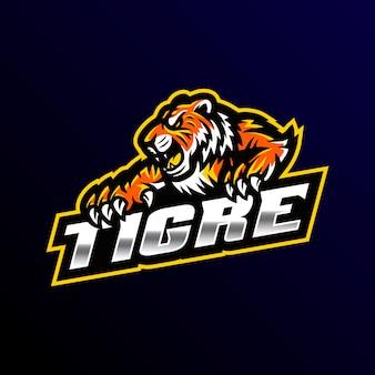 Тигр талисман логотип игровой киберспорт иллюстрации