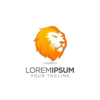 エレガントなライオンヘッドのロゴ