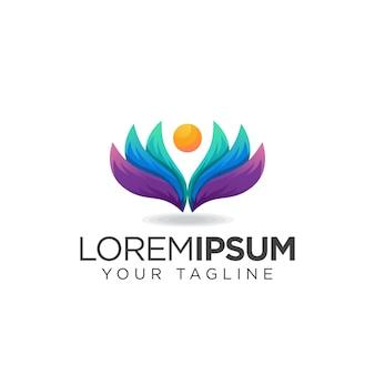 Красочный логотип цветок йоги
