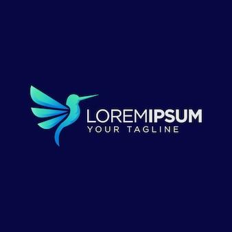 シンプルな青いハミング鳥のロゴ