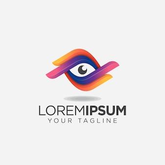 シンプルなカラフルな目ロゴ