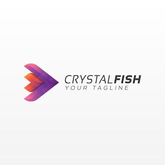 抽象的な水晶魚のロゴ