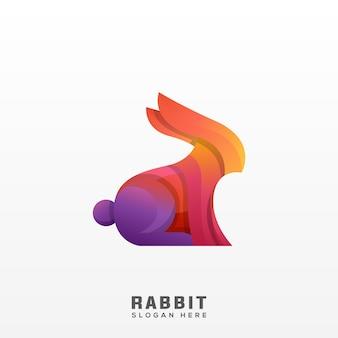 ウサギのロゴのカラフルなモダンなグラデーション