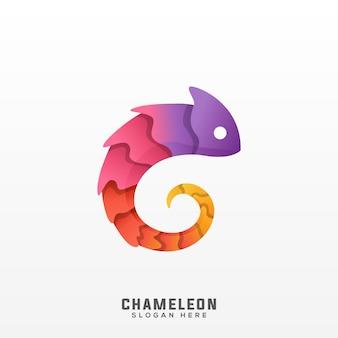 カメレオンのロゴのカラフルなグラデーション