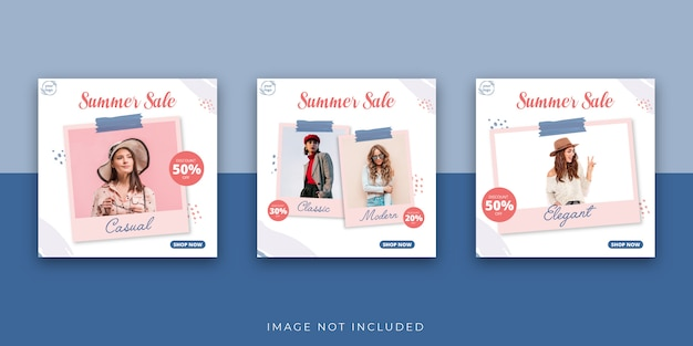 Мода лето социальные медиа пост шаблон фоторамка