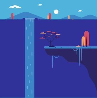 崖と平らな滝