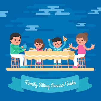 テーブルイラスト無料ベクトルの周りに座って手描き家族